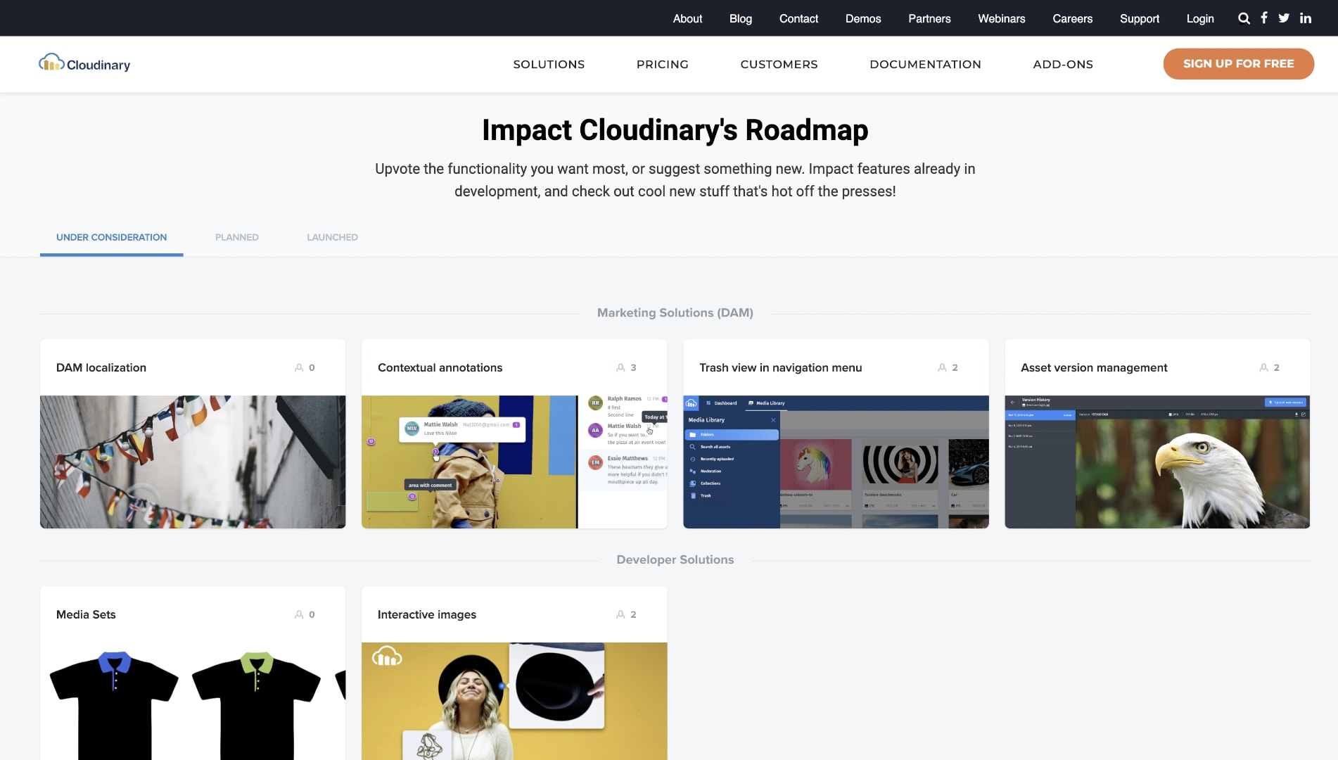 Example of Cloudinary's Product Roadmap