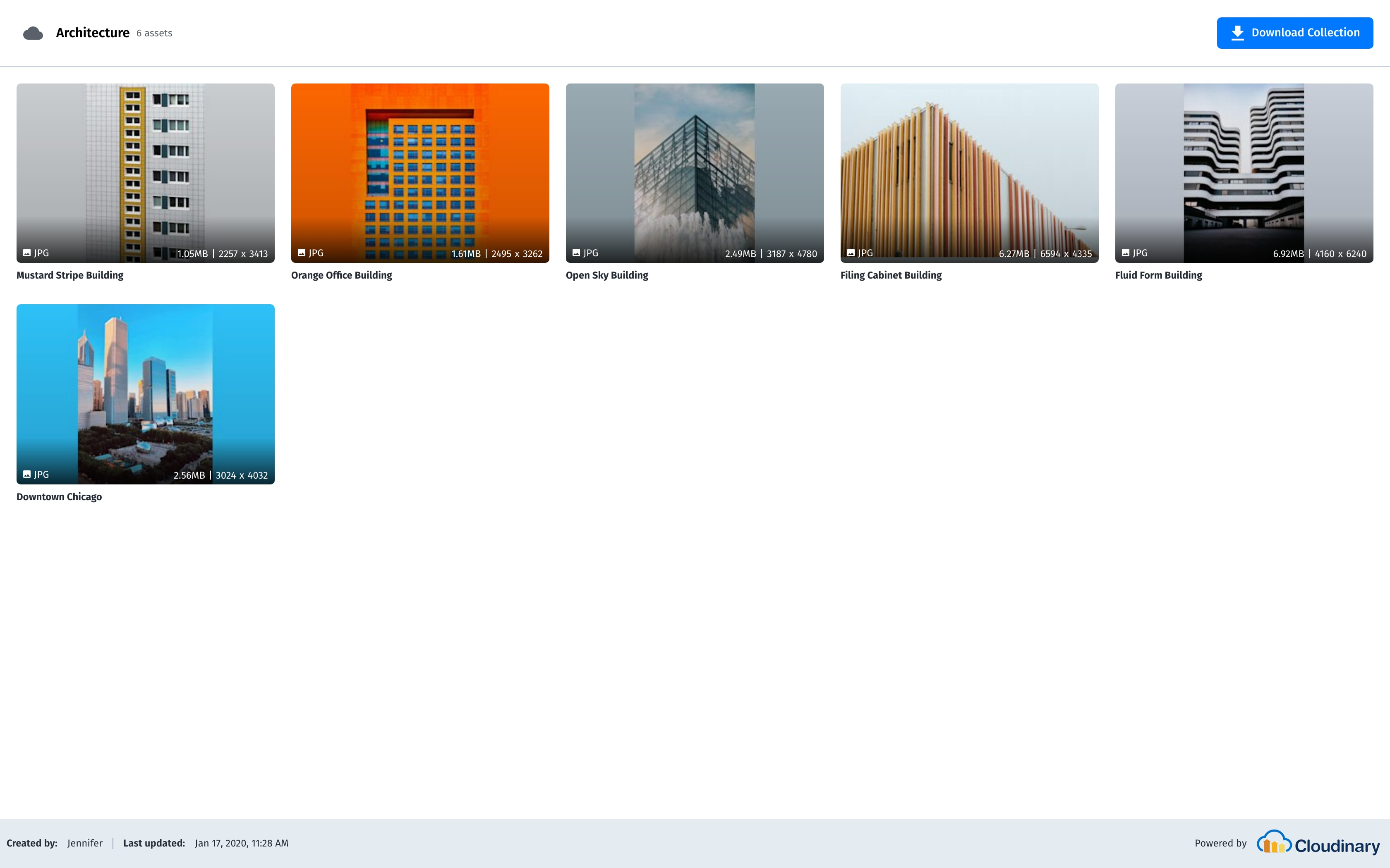 Example of a shared collection, using Cloudinary's Visual Collection Sharing feature.