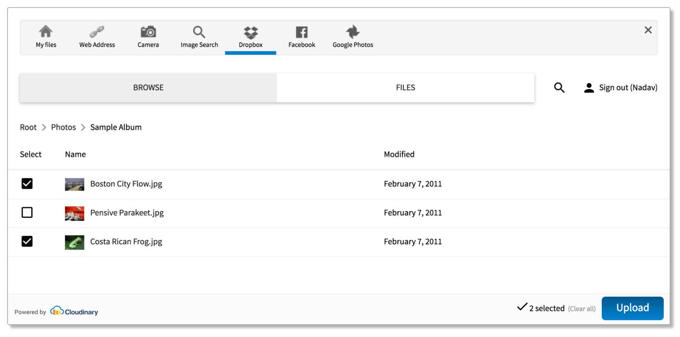 Upload widget - pick files from Dropbox folders