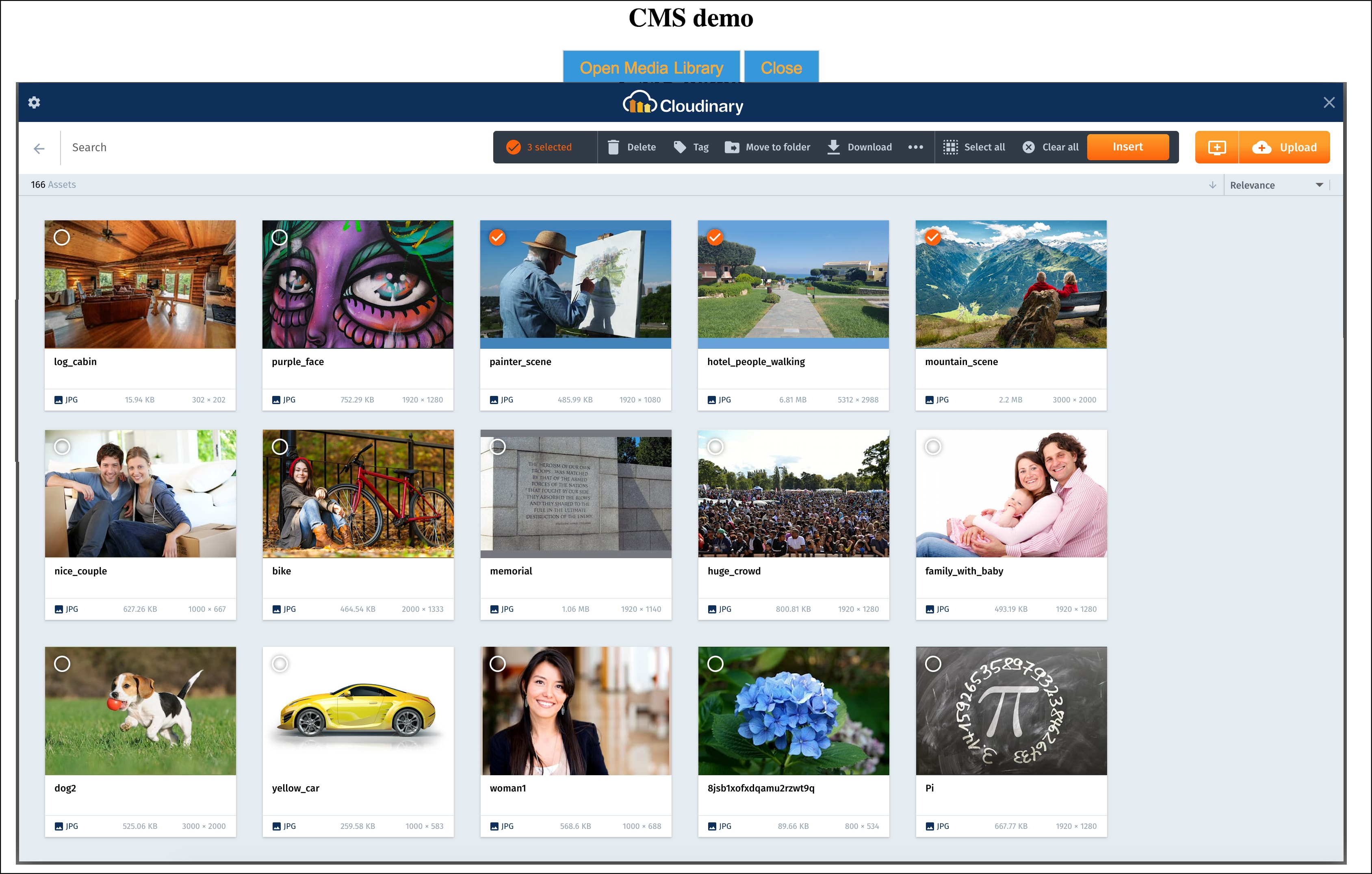 Media Library widget demo