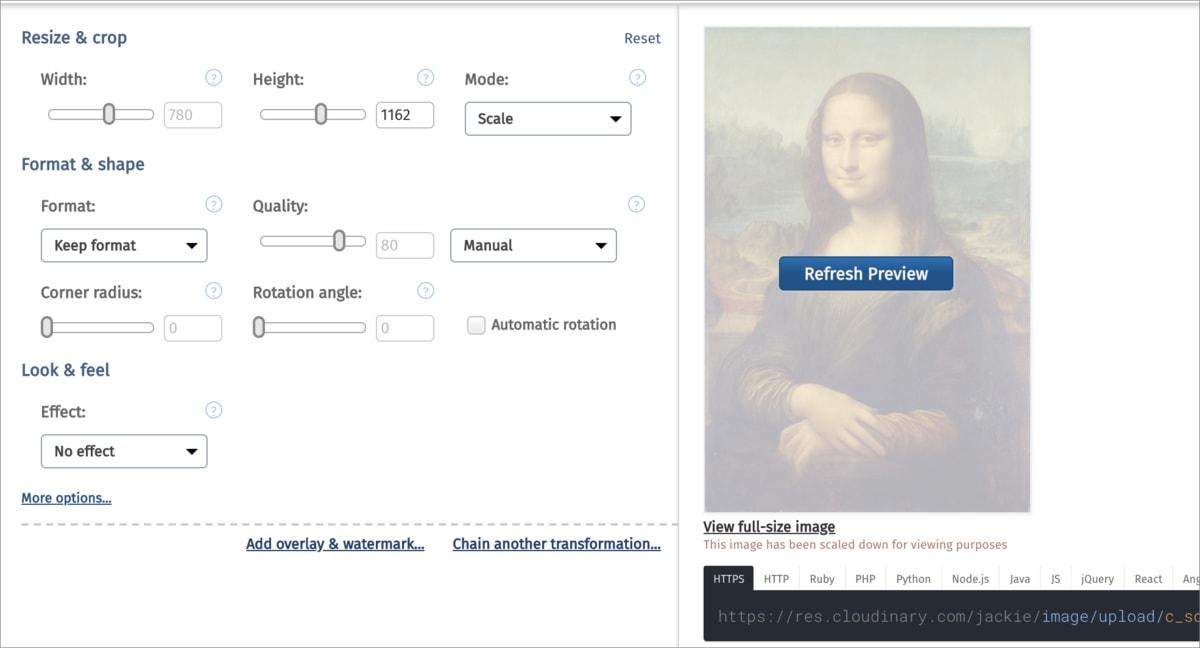 Edit transformation UI