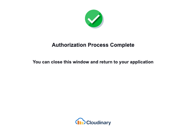 Authorization Confirmation for Cloudinary to Access Photoshop through the Creative Cloud Connector