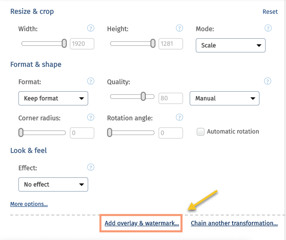 Cloudinary Transformation Editor Overlay and Watermark Option