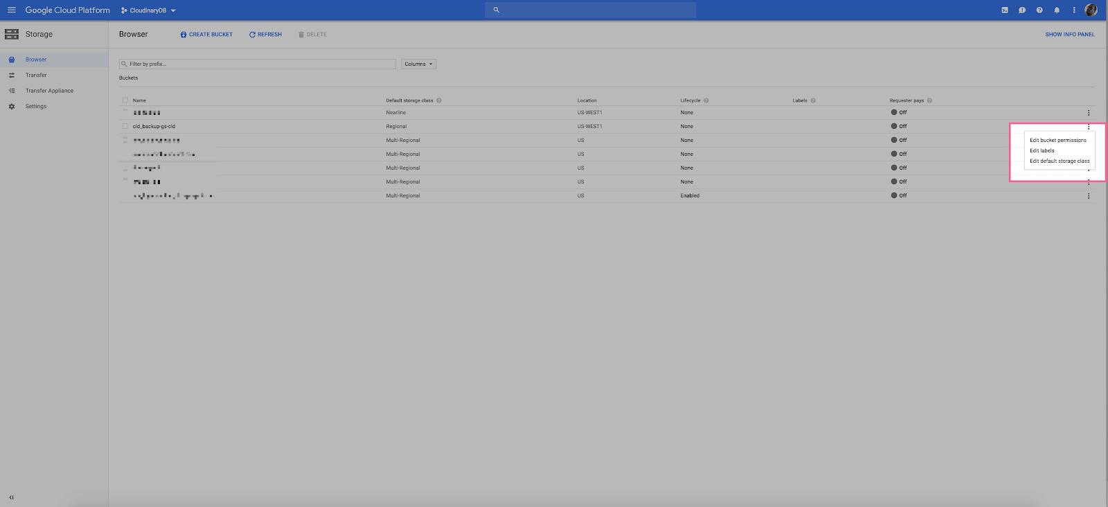 Google Cloud Storage Edit Bucket Permissions