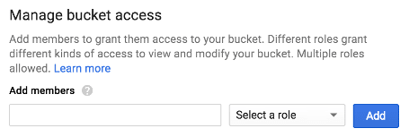 Google Cloud Storage Manage Bucket Access