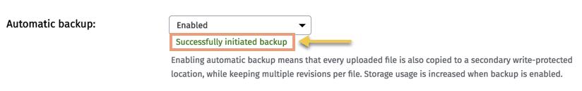 Cloudinary Management Console Start Backup