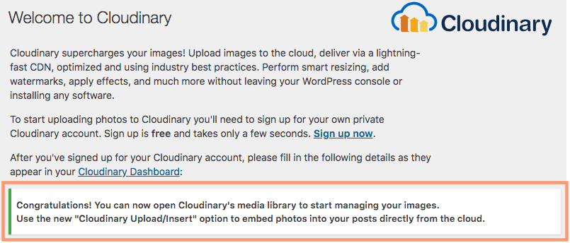 Cloudinary WordPress Plugin Cloud Connection Complete