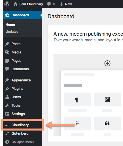 Cloudinary WordPress Plugin Menu