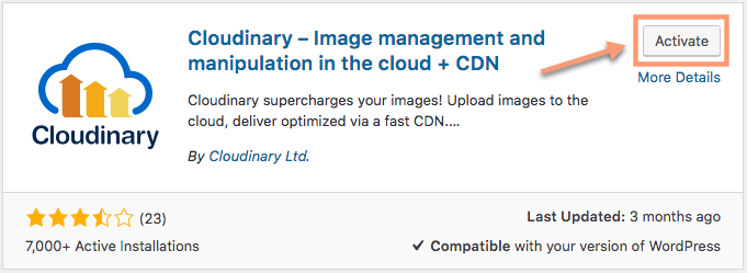 Cloudinary WordPress Plugin Listing Activate Button