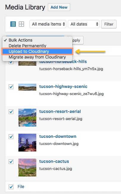 Cloudinary WordPress Bulk Actions Upload