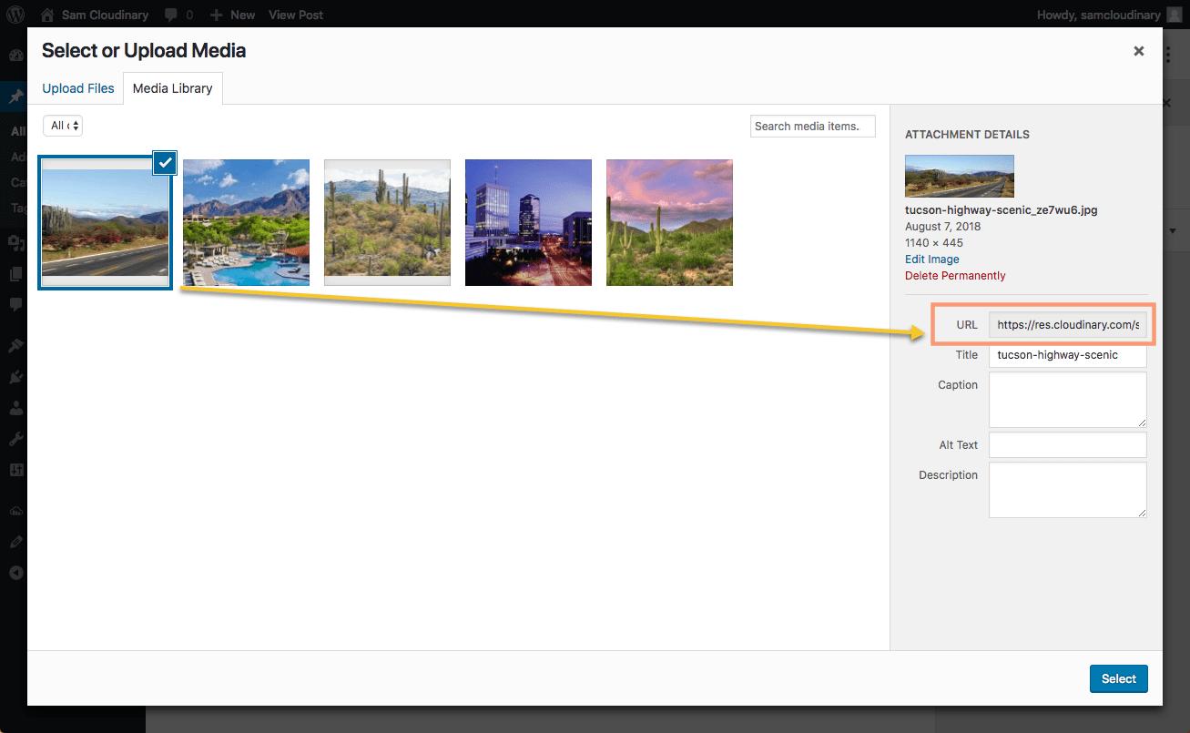 Cloudinary WordPress Media Library Image Select URL