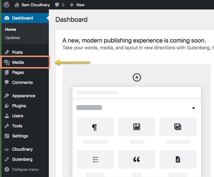 Cloudinary WordPress Media Tab Select