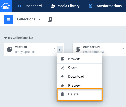 Example of deleting an existing Collection in Cloudinary's Management Console.