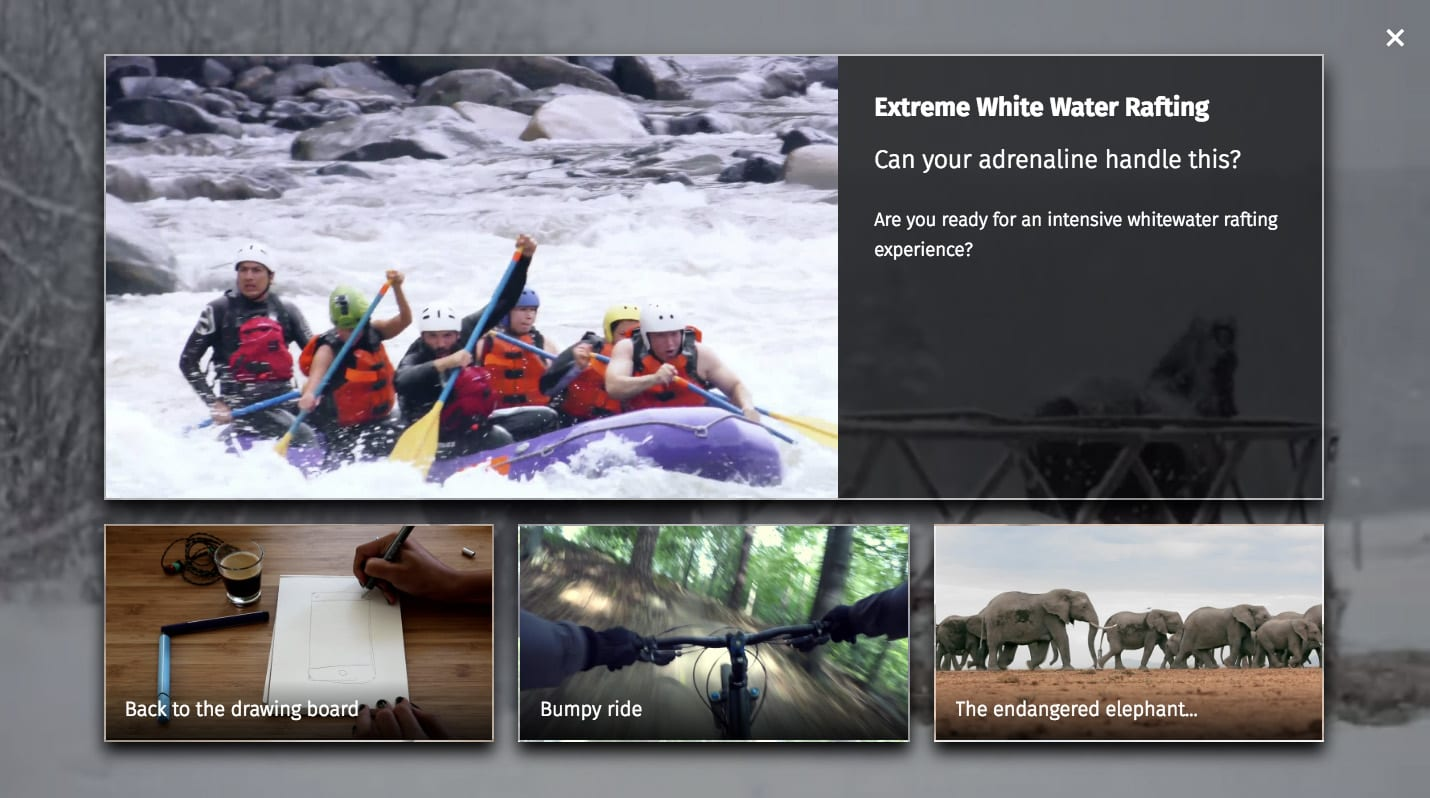 Video recommendations pane with titles and descriptions