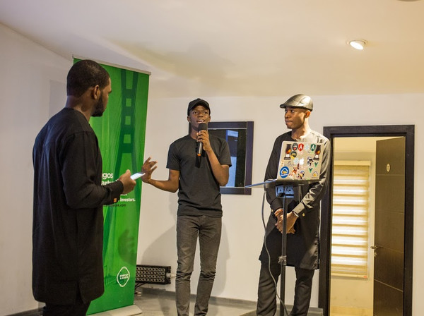 Olawuyi telling everyone his story while Prosper and Codebeast look on in awe.