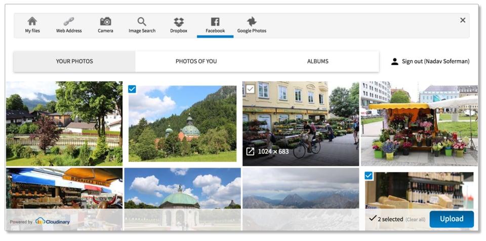 Upload widget - pick images from Facebook albums