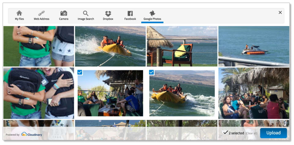 Upload widget - pick images from Google Photos