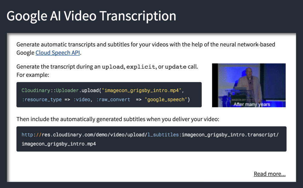 Google AI Video Transcription Add-on registration