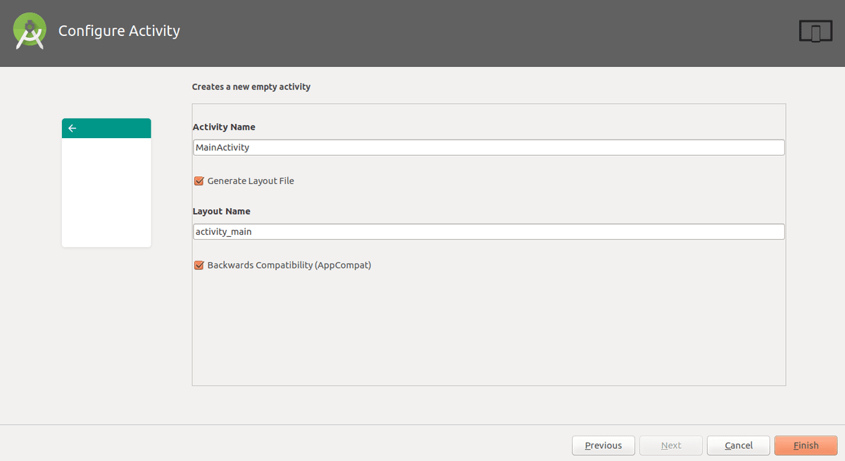 finish the creation with the default activity names