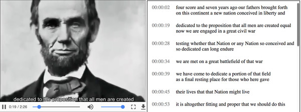 video with automatic transcript and subtitles